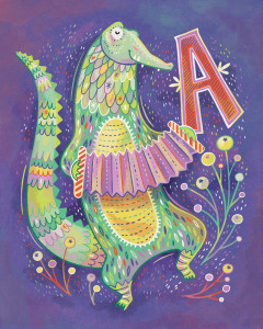 A is for Alligator playing an Accordion