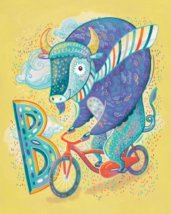 B is for Buffalo riding a Bicycle